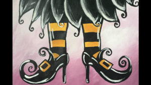 Witch Shoes Acrylic Painting Tutorial for Beginners | Halloween Fall Month
