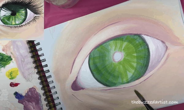 Adding pupil color variants realistic eye tutorial painting for beginners