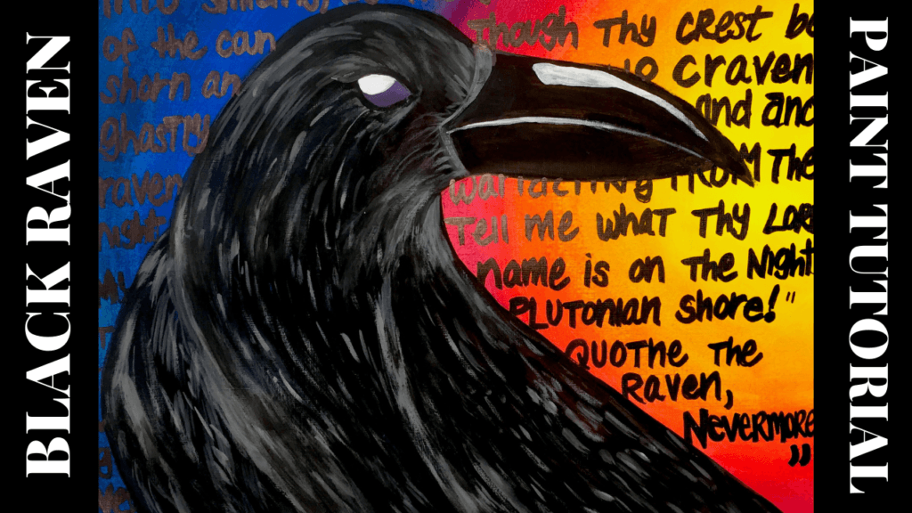 black raven acrylic painting for beginners