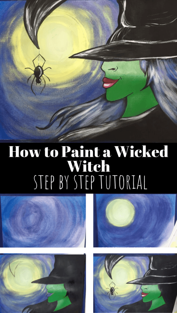 Wicked Witch acrylic painting tutorial for beginners