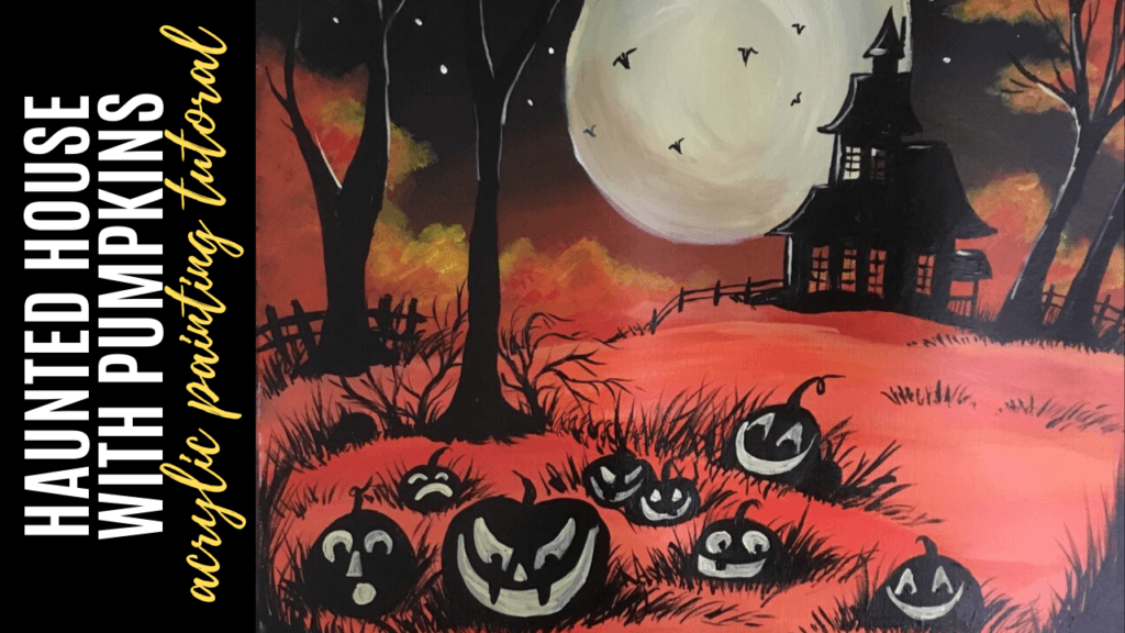 haunted house with pumpkin acrylic painting tutorial for beginners