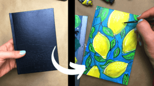 painting notebook cover upcycle project