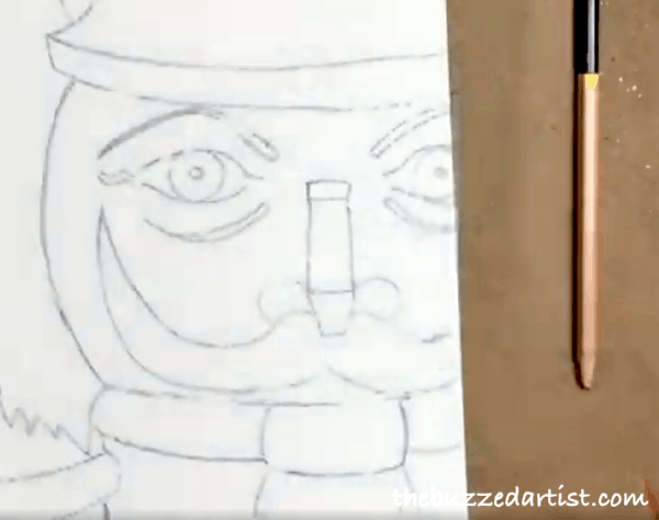 pop art Nutcracker acrylic painting tutorial for beginners sketch