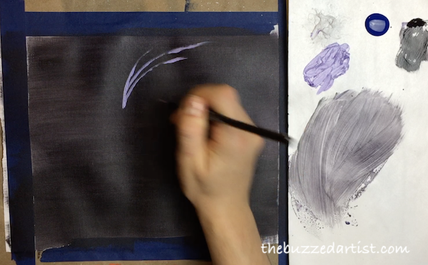 Painting fireworks New years eve acrylic tutorial for beginners