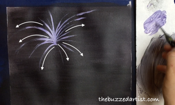 Painting fireworks full circle new years eve acrylic tutorial