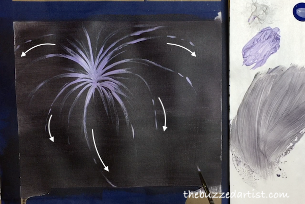 Adding Firework flares new years eve acrylic painting tutorial