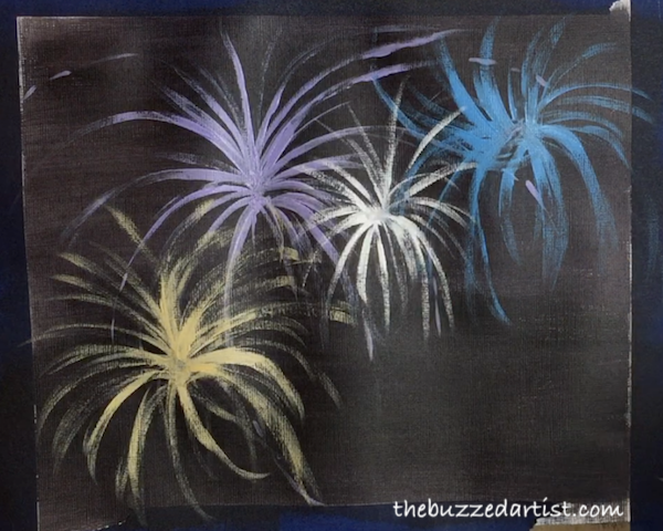 Adding more fireworks new years eve acrylic painting tutorial