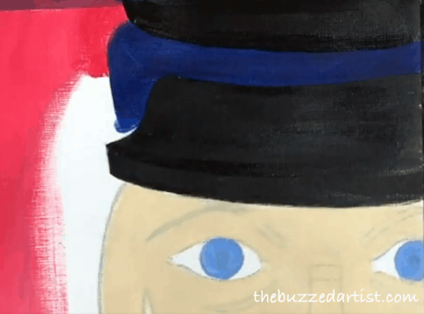 pop art Nutcracker acrylic painting tutorial for beginners hat brim