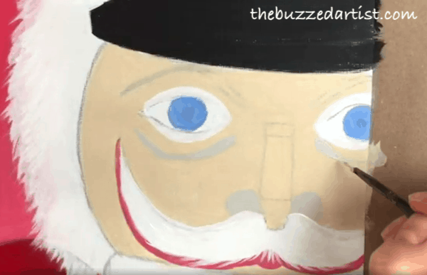 pop art Nutcracker acrylic painting tutorial for beginners under eye lines