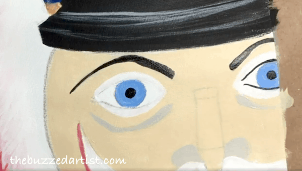 pop art Nutcracker acrylic painting tutorial for beginners eye outline