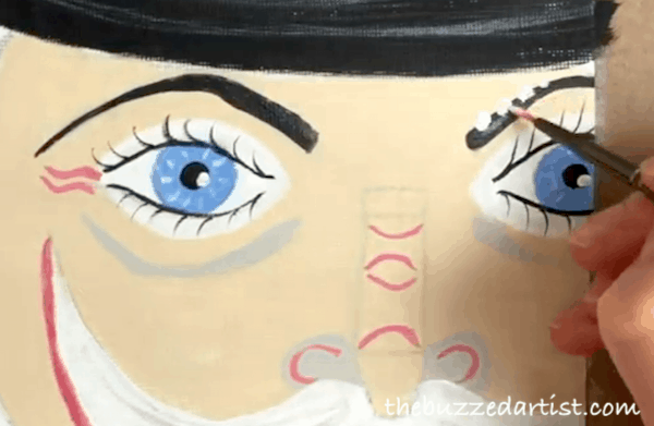 pop art Nutcracker acrylic painting tutorial for beginners eyebrow details