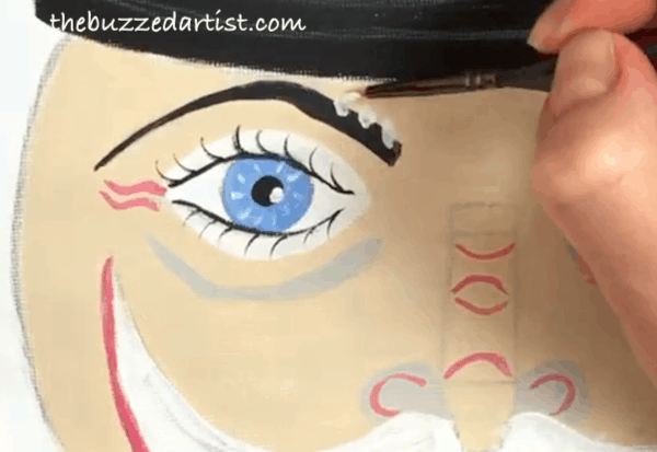 pop art Nutcracker acrylic painting tutorial for beginners eyebrow