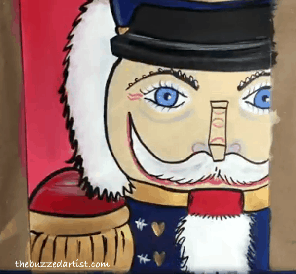 pop art Nutcracker acrylic painting tutorial for beginners