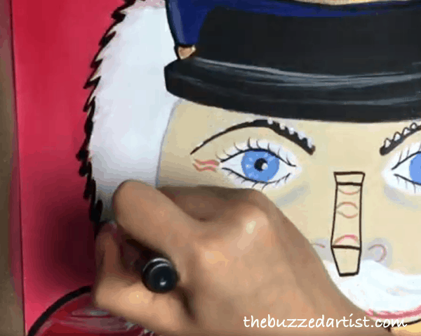pop art Nutcracker acrylic painting tutorial for beginners hair outline