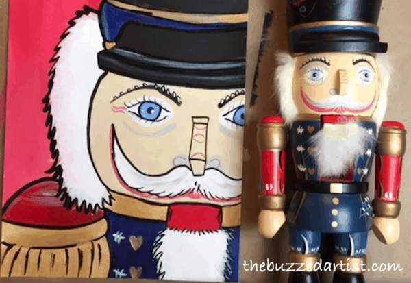 Completed Christmas nutcracker painting tutorial for beginners side-by-side comparison