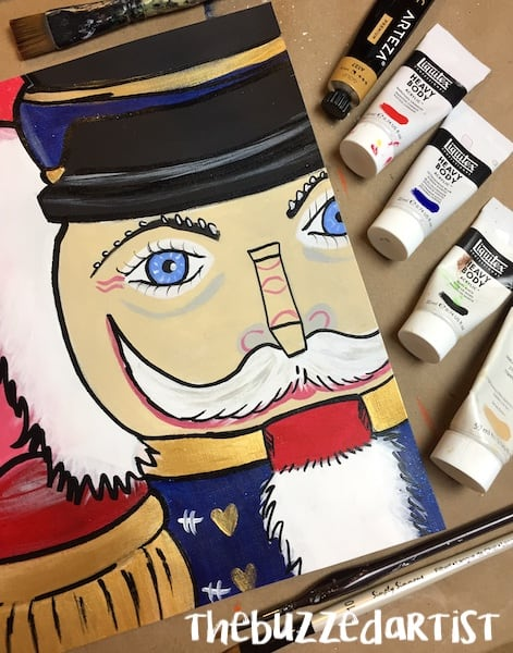 Completed Christmas nutcracker painting tutorial for beginners