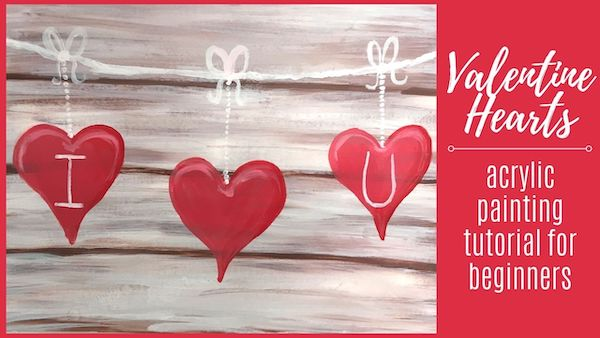 Valentine Hearts Acrylic Painting Tutorial for Beginners