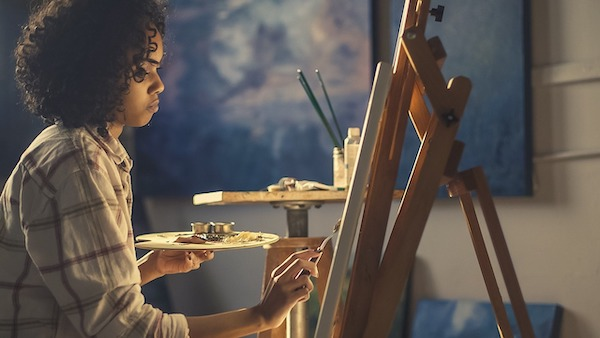 how to stop art block and get new ideas for painting start putting paint to canvas